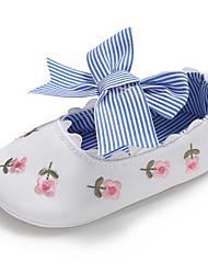 preiswerte -Mädchen Schuhe Leinwand Frühling & Herbst Komfort / Lauflern / Kinderbett Schuhe Flache Schuhe Schleife / Blume / Elastisch für Baby Weiß / Blau / Rosa / Hochzeit / Party & Festivität