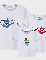 baratos -3 Peças Infantil Olhar de família Sólido / Letra Manga Curta Camiseta
