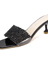 baratos -Mulheres Sapatos Couro Ecológico Verão Chanel Sandálias Salto Sabrina Lantejoulas Dourado / Preto / Prateado