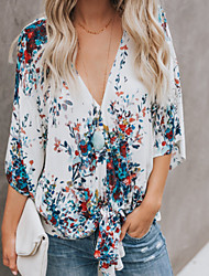 cheap -Women's Going out / Beach Blouse - Floral / Geometric V Neck