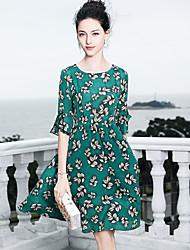 baratos -Mulheres Básico / Sofisticado Manga Alargamento balanço Vestido - Frufru / Estampado, Floral Acima do Joelho