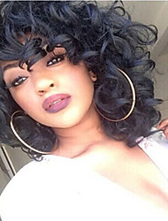 cheap -Synthetic Wig Curly Weave / European Synthetic Hair African American Wig Natural Black Wig Women's Medium Length Natural Wigs Capless