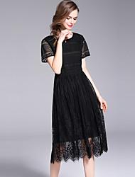 お買い得  -女性用 ストリートファッション Aライン / 黒 ドレス - レース, ソリッド ミディ