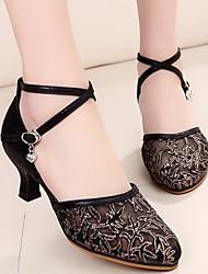baratos -Mulheres Sapatos de Dança Moderna Renda Salto Salto Grosso Sapatos de Dança Dourado / Preto / Prata