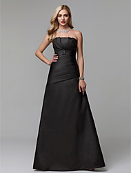 cheap -A-Line Strapless Floor Length Taffeta Prom / Formal Evening Dress with Pleats by TS Couture®
