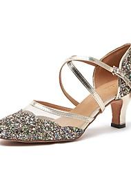 baratos -Mulheres Sapatos de Dança Moderna Couro Sintético Salto Salto Grosso Sapatos de Dança Dourado