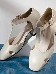 abordables -Femme Chaussures Cuir Nappa Printemps été Confort Mocassins et Chaussons+D6148 Talon Bas Bout fermé Noir / Beige