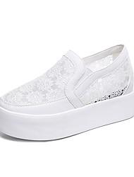 abordables -Femme Chaussures Polyuréthane Eté Confort Mocassins et Chaussons+D6148 Creepers Bout rond Blanc / Noir