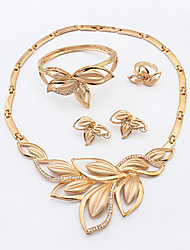 cheap -Women's Thick Chain Jewelry Set - Leaf Stylish, Classic Include Stud Earrings / Band Ring / Necklace Gold For Party / Gift / Bracelet