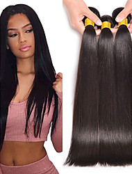 cheap -3 Bundles Peruvian Hair Straight Human Hair Human Hair Extensions 8-28 inch Natural Color Human Hair Weaves Machine Made Best Quality / Hot Sale / Wedding Human Hair Extensions Women's