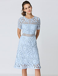 baratos -Mulheres Vintage / Sofisticado Evasê Vestido - Renda, Sólido Altura dos Joelhos