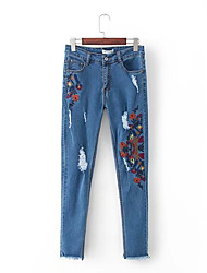 cheap -women's slim jeans pants - floral