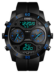 cheap -SKMEI Men's Sport Watch / Military Watch Japanese Alarm / Chronograph / Water Resistant / Water Proof PU Band Casual / Fashion Black / Three Time Zones / Stopwatch