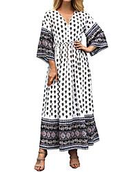 baratos -Mulheres Boho / Moda de Rua Bainha / balanço Vestido - Estampado, Geométrica Longo
