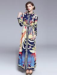 baratos -Mulheres Boho / Moda de Rua Reto Vestido - Estampado, Floral Longo