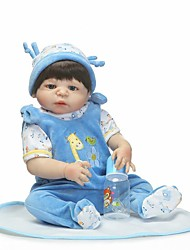 cheap -NPKCOLLECTION Reborn Doll Baby Boy 24 inch Full Body Silicone / Vinyl - Artificial Implantation Blue Eyes Kid's Boys' Gift
