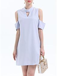 お買い得  -女性用 ヴィンテージ パフスリーブ シフト ドレス - プリーツ, チェック 膝丈 ブラック&ホワイト