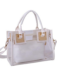 baratos -Mulheres Bolsas PVC / PU Conjuntos de saco 2 Pcs Purse Set Ziper Preto / Prata / Rosa