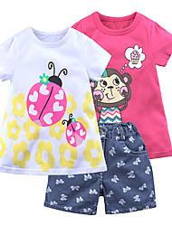 Недорогие -Дети (1-4 лет) Девочки Винтаж Активный Повседневные Школа С принтом С короткими рукавами Обычный Обычная Хлопок Набор одежды Пурпурный