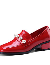 cheap -Women's Shoes Nappa Leather Spring & Summer Comfort Loafers & Slip-Ons Chunky Heel Square Toe Imitation Pearl Black / Red