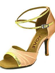 Недорогие -Индивидуальные Женские атласа верхней танцевальная обувь сандалии с Buckie