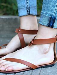 povoljno -Žene Cipele PU Ljeto Udobne cipele Sandale Ravna potpetica Crn / Braon