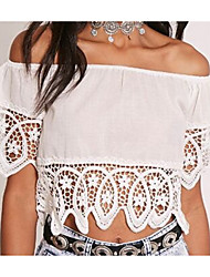 cheap -Women's Going out Basic / Street chic Cotton Slim T-shirt - Solid Colored Lace / Backless / Cut Out Strapless / Off Shoulder / Boat Neck / Summer