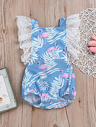 baratos -bebê Para Meninas Folha tropical / Flamingos Floral Sem Manga Maiô