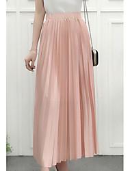 cheap -women's silk maxi a line skirts - solid colored high waist