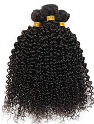 cheap -4 Bundles Brazilian Hair Curly Human Hair Natural Color Hair Weaves / Extension / Human Hair Lace Wig 8-28 inch Human Hair Weaves Machine Made Silky / Party / Woven Black Human Hair Extensions Unisex