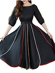 Недорогие -Жен. Хлопок Тонкие Оболочка Платье Средней длины