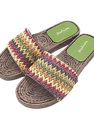 baratos -Mulheres Sapatos PVC Verão Conforto Chinelos e flip-flops Sem Salto Dedo Aberto Roxo / Vermelho / Verde