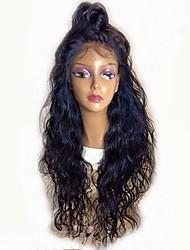 Недорогие -Remy Лента спереди Парик Малазийские волосы Волнистый Парик Стрижка каскад 130% С детскими волосами / Природные волосы / Для темнокожих женщин Черный Жен. Короткие / Длинные / Средняя длина