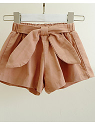 cheap -Baby Girls' Active Solid Colored Bow Cotton Shorts / Toddler