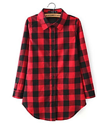 cheap -women's shirt - check shirt collar