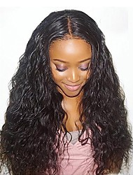 cheap -Virgin Human Hair Lace Front Wig Water Wave Wavy Wig 150% With Baby Hair / Hot Sale Natural Women's Long Human Hair Lace Wig