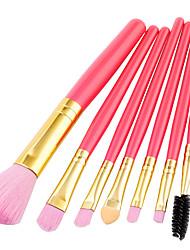 baratos -7 pcs Pincéis de maquiagem Profissional Conjuntos de pincel Fibra de Nailom Amiga-do-Ambiente / Macio De madeira / bambu