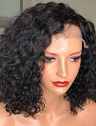 billiga -Remy-hår Spetsfront Peruk Brasilianskt hår Lockigt Peruk Bob-frisyr 130% Med Babyhår / Naturlig hårlinje / Afro-amerikansk peruk Dam Korta Äkta peruker med hätta