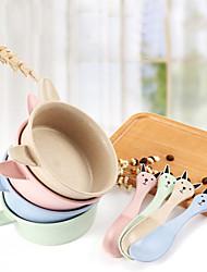 Недорогие -кролик детская посуда набор натуральная пшеничная соломенная миска ложка подарок
