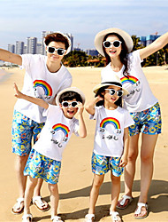 cheap -Adults Family Look Solid Colored Short Sleeve Clothing Set