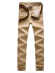 cheap -Men's Street chic Cotton Slim Chinos Pants - Solid Colored High Waist