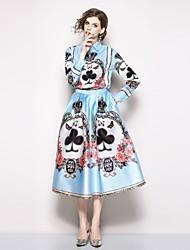 baratos -Mulheres Boho / Moda de Rua Camisa Social - Estampado, Floral Saia