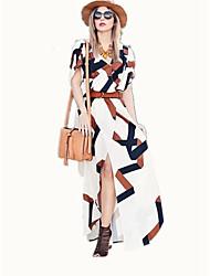 baratos -Mulheres Básico balanço Vestido Estampa Colorida Longo Preto & Branco