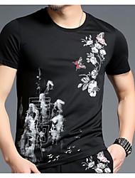 abordables -Hombre Tallas Grandes Algodón Camiseta, Escote Redondo Geométrico / Manga Corta