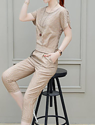 abordables -Femme Basique / Chinoiserie Set - Rayé, Fendu Pantalon