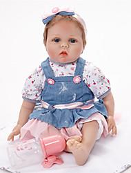 Недорогие -FeelWind Куклы реборн Девочки 22 дюймовый как живой Ручная работа Безопасно для детей Non Toxic Ручной корневой мохер Искусственные имплантации Голубые глаза Детские Девочки Игрушки Подарок