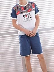 povoljno -Muškarci U izrez Odijelo Pidžama Cvjetni print