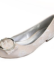 cheap -Women's Shoes Lace Spring Comfort / Ballerina Wedding Shoes Flat Heel Round Toe Rhinestone / Sparkling Glitter / Buckle Silver / Champagne / Ivory / Party & Evening