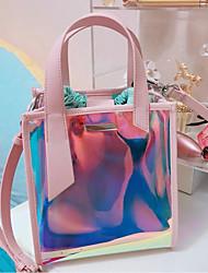 baratos -Mulheres Bolsas PVC Conjuntos de saco 2 Pcs Purse Set Botões Azul / Rosa
