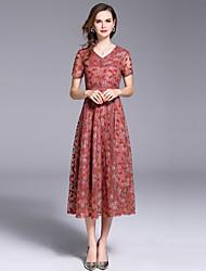 お買い得  -女性用 ヴィンテージ / ストリートファッション Aライン / スウィング ドレス - レース, ソリッド ミディ